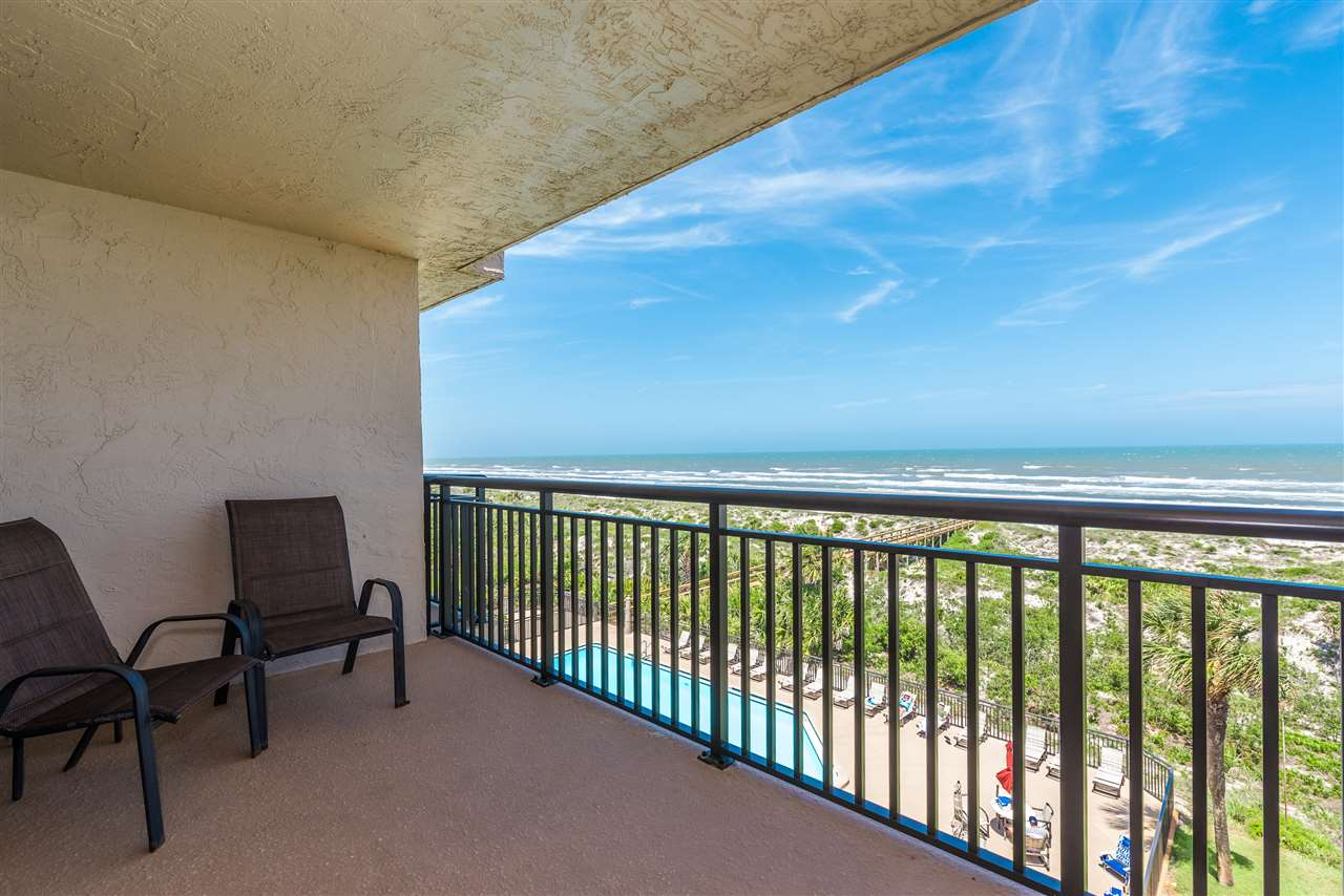 Amazing views from this oceanfront, 4th floor unit at Barefoot Trace condominium.  2 bedrooms, 2 baths all on one level with a large living area overlooking the ocean. Barefoot Trace complex features an oceanfront pool, beach walkover, covered parking, tennis and more. Sold fully furnished.