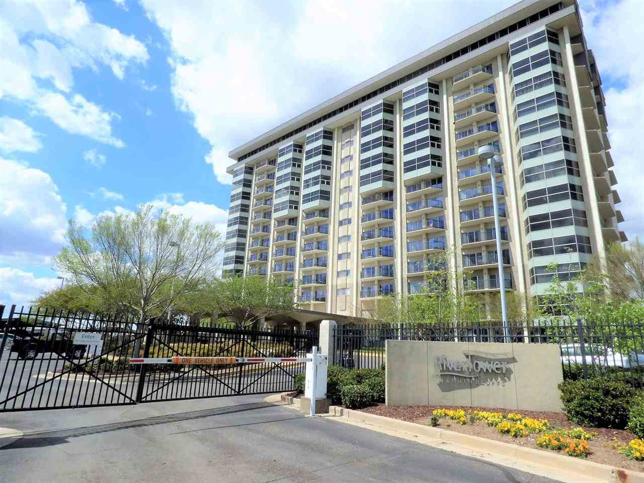 Motivated Seller! Open to all reasonable offers. River Tower at South Bluffs condo. Stunning views of the river and downtown skyline. Updated 1 BR, 1 BA condo.  Granite kitchen countertops. Stainless appliances. Newly renovated bath. Fresh interior paint. Attractive hardwoods. Covered parking #86 A.  All utilities and HVAC maintenance included in HOA. Amenities include a gated entry, 24-hr on site security, fitness and yoga rooms, lighted tennis court, Olympic-sized pool, Dog run.