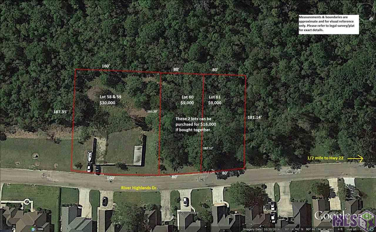Lots 58 & 59 RIVER HIGHLANDS, St Amant, LA 70774