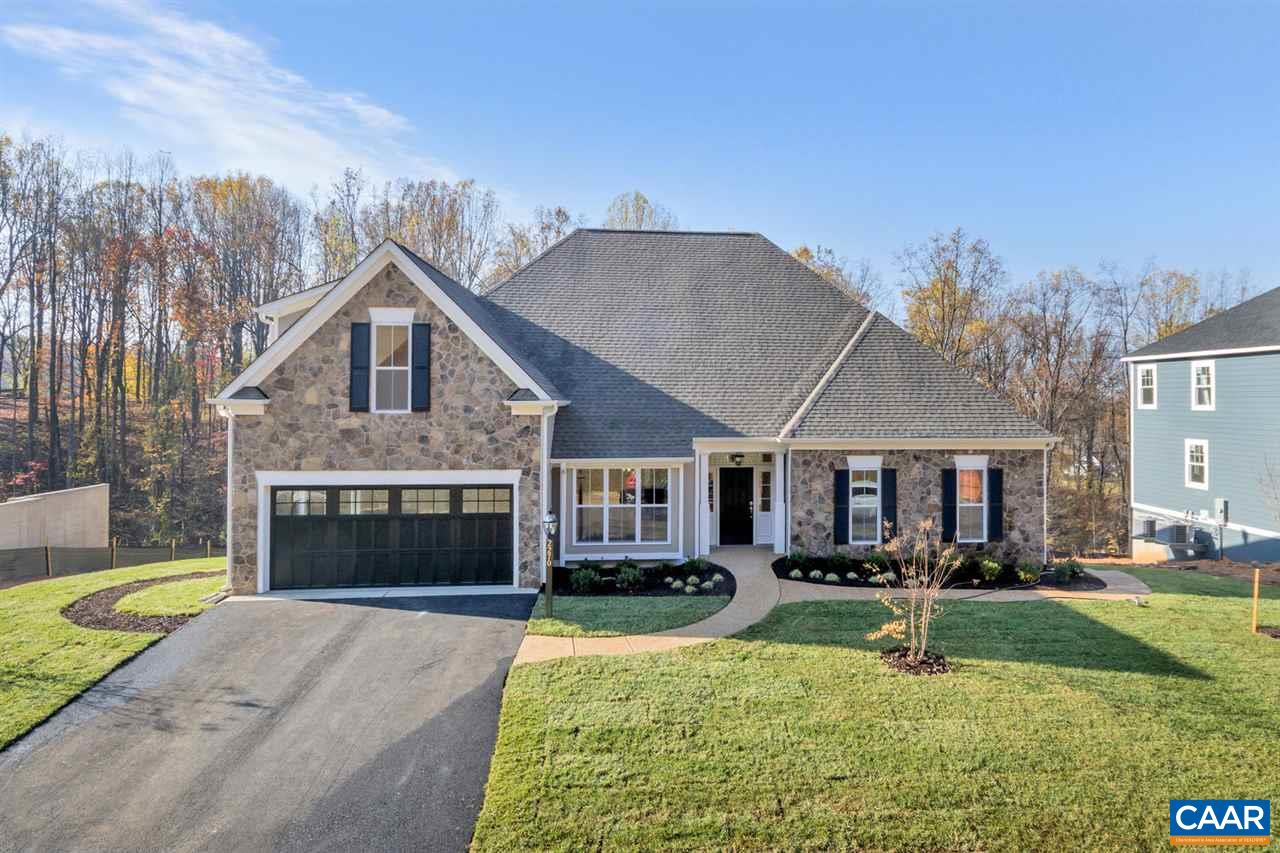 """New Construction Home- This One Level Living Newport is to be built in Westlake at Foothill Crossing.  Finished bonus room/bath included! The community offers half acre homesites near downtown Crozet with Mountain Views.  This homesite offers a large backyard. Quality built with 2x6 exterior walls, custom mahogany front door, R-19 insulation, and 5"""" plank hardwood.  Kitchen includes painted maple cabinetry (white, grey, etc shaker style), granite countertops (also in owner's suite), and much more. This is one of many floor plans to choose from."""