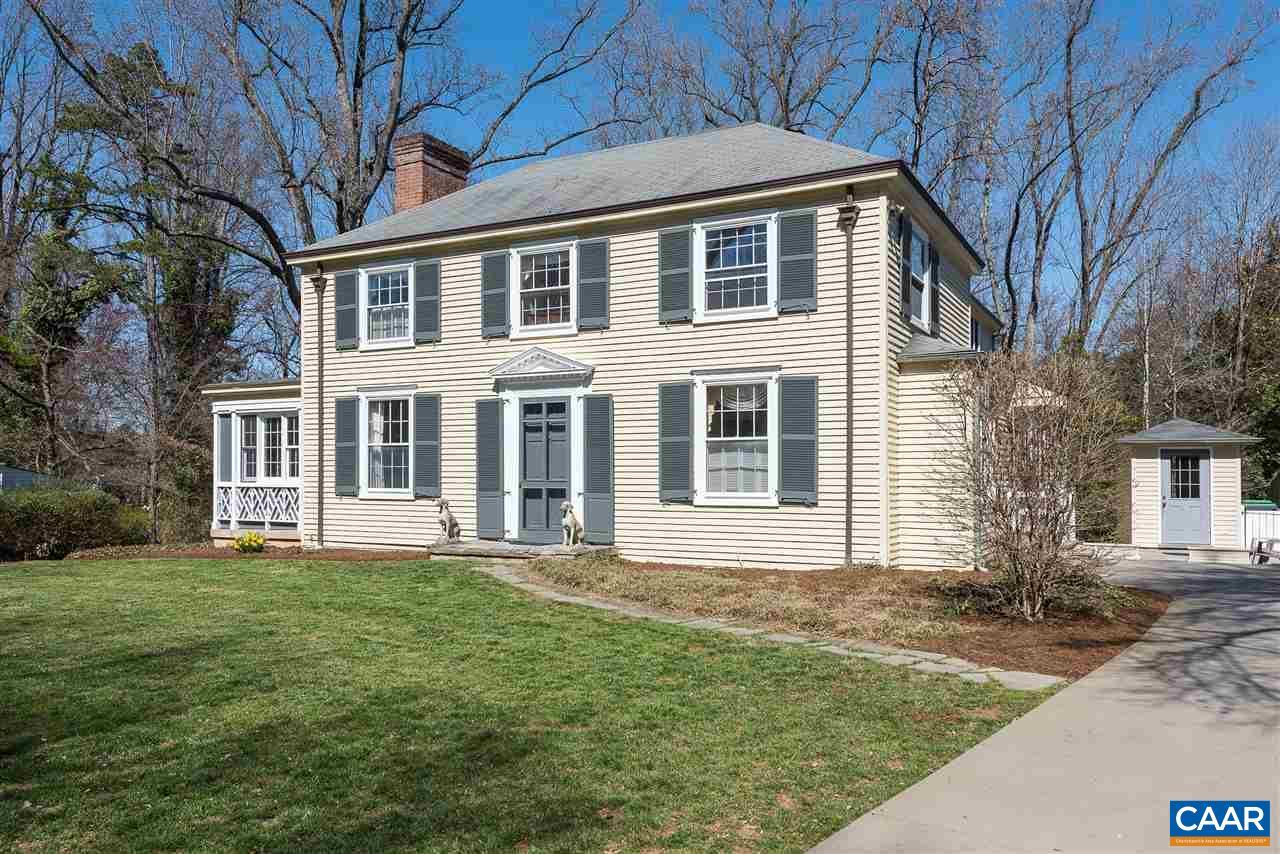 Lovely Georgian home, designed by Milton L. Grigg in 1941 has the historical integrity of a classic home with a stunning addition dated 2005-2008.  The addition includes large open kitchen & breakfast nook, family room with fireplace, master suite with bathroom with double marble vanities, tub and shower plus a screened sleeping porch.  Also added were a basement rec. room with outside access, porch, patio, hot tub, shed and basketball court.  On one of the most desirable streets in a coveted Charlottesville neighborhood.