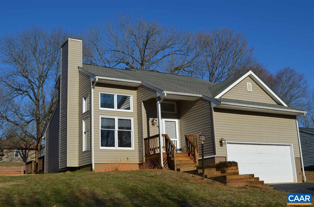 All NEW carpet throughout and fresh paint in bedrooms. 1st floor master suite with walk-in closet. 2 story ceilings in living room with wood burning fireplace. Two additional bedrooms and one bathroom upstairs.Extra large attached 1 car garage. All of this in Crozet!