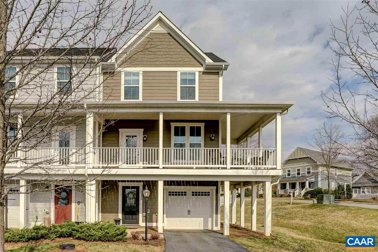 Southern charm prevails in this stunning, move-in ready end-unit townhome with all the features you love in a popular western Albemarle neighborhood! Wide plank floors, spacious room sizes, light-filled and usable floor plan make this home the perfect place to live and entertain. 1stfloor rec room/office and easy access to the back yard and patio. The main living level is a delight with gourmet kitchen boasting granite, stainless appliances, tile backsplash, pantry, breakfast bar and large dining area with access to the back deck for easy grilling. Enjoy the adjoining great room which opens to the wraparound front porch, the perfect place to enjoy the mountain breezes. The upper level features a large owners suite, and 2 additional bedrooms