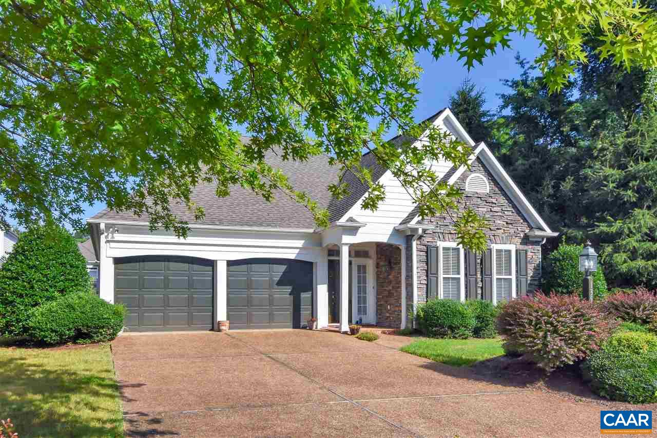 One level home located in the Stonegate Community.  Sun filled living spaces, open floor plan, two car garage,  private backyard with patio, walk-in closet.  Featuring wood floors,  ceramic tile and 3 zoned heated floors.  Just minutes from downtown Crozet and I-64.   Yard care and some maintenance on the structure  included in HOA.  Quality Craig Builders construction, 2x6 walls and copper water supply lines.