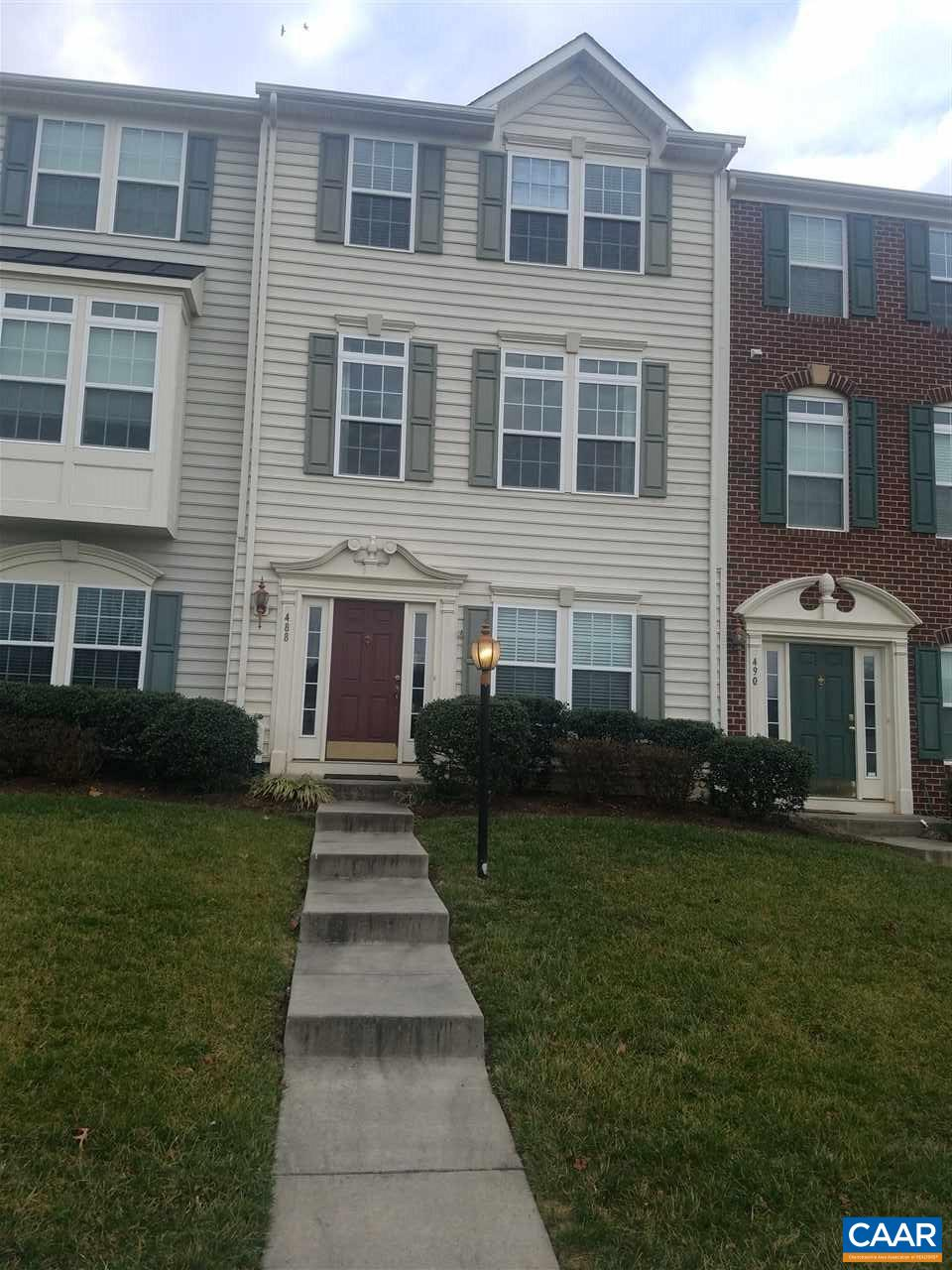 Pavilions at Pantops is perfectly located with easy access to I-64, UVA, and downtown Cville. Community features great sidewalks, play areas, great views, trash service, and yard service. This 3 bedroom 3 full bath townhouse is ready to move in! The main living area has an open concept with the kitchen, dining and living rooms all connected and open. The upstairs has 2 large bedrooms and 2 full baths, featuring a large master bedroom with cathedral ceiling and full bath with a double vanity sink and garden tub with separate shower. The first level is finished with a den (with a gas log fireplace), a bedroom or office and another full bath. Also features a private back yard. This townhouse has so much to offer at this perfect location!