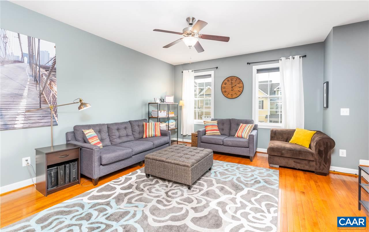 METICULOUSLY CARED FOR and ready for her new owners. Super sought after convenience at Pavilions at Pantops. Close to shopping, Downtown, coffee, restaurants, the Interstate, and schools. This 3 BR, 2.5 BA beauty was well designed, and you can feel the the openness and light throughout. Hardwoods, granite, stainless steel, tilt in windows, and garage with interior entrance make for clean and upscale living. HOA covers a lot, including mowing your back yard! Property backs up to jogging trails, and is fenced for your four legged friends. Check pics and make your appointment today!
