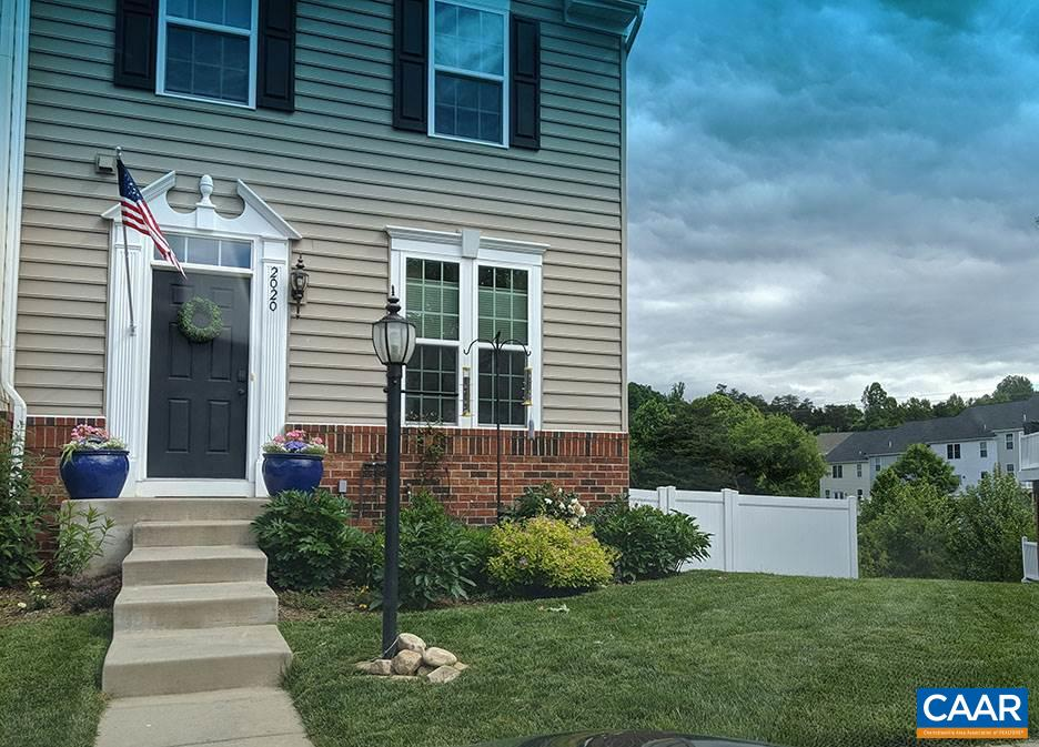 Unique town home in Pavilions at Pantops. End unit with large fenced-in yard and deck overlooking lake with great views of the Blue Ridge. Three bedroom, 2 full/2 ½ baths shows like a model home with many upgrades. Kitchen/bath with granite counter tops, stainless steel appliances, hardwood floors and plush carpeting. Basement movie room with walk out to spacious patio area. A storage shed holds all of the extras! Centrally located to Martha Jefferson Hospital, shopping and downtown dining.