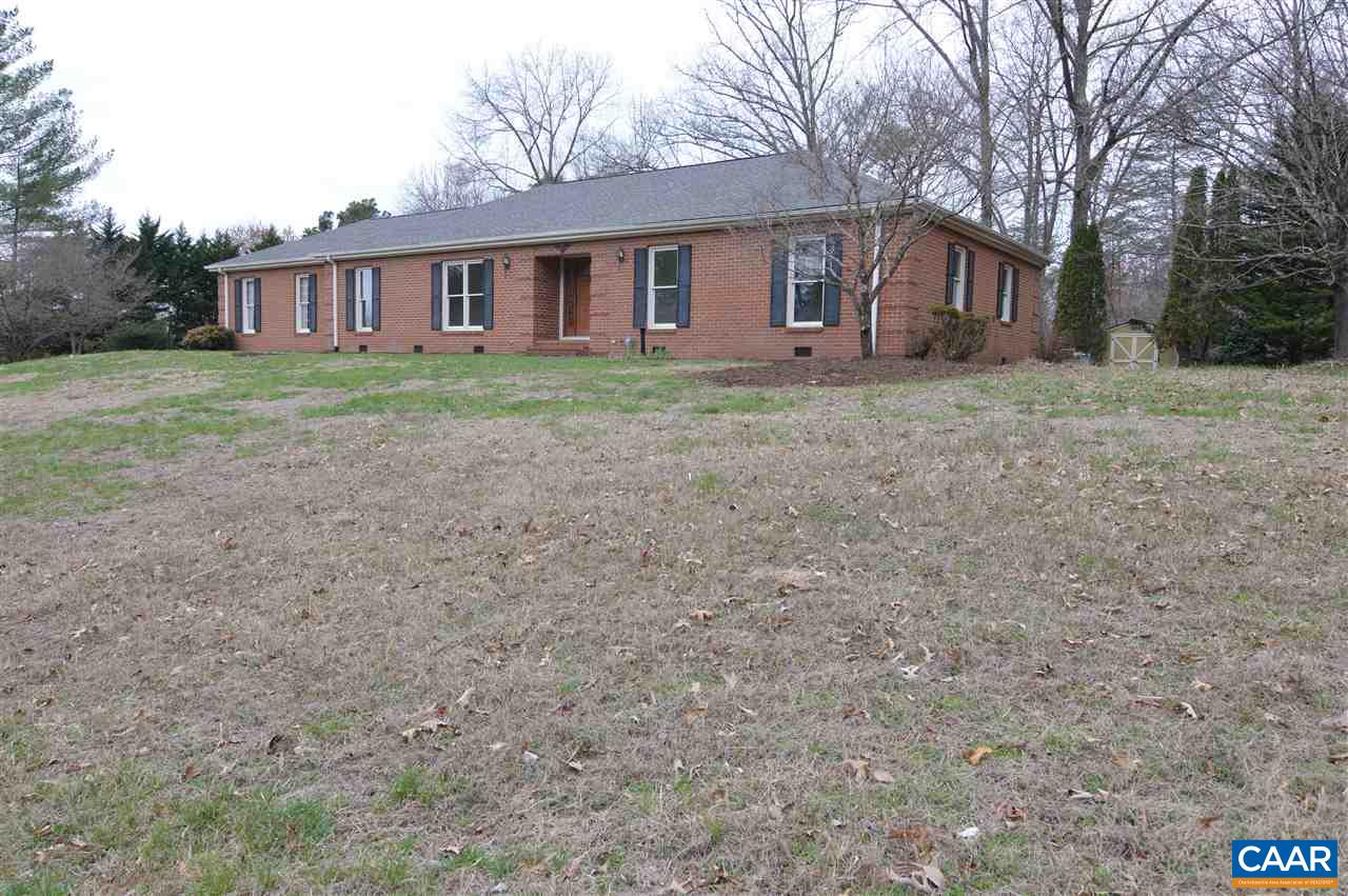 Priced below assessment. Enjoy one level living in this well built brick home in the highly desirable North Pines neighborhood. Privately situated backing up to hardwoods on an elevated 2.4 acre lot. Spacious great room adjoining kitchen has gas fireplace and tall windows with views of the woods. Freshly painted with lovely hardwood floors. Bathrooms need updating, great room and bedrooms need new carpet. North Pines is known for its large lots, friendly neighbors & abundant wildlife yet is conveniently located minutes from NGIC, CHO, Hollymead Town Center. Listing offered SOLD AS IS WHERE IS, seller will make no repairs. Inspection for purchasers information only.