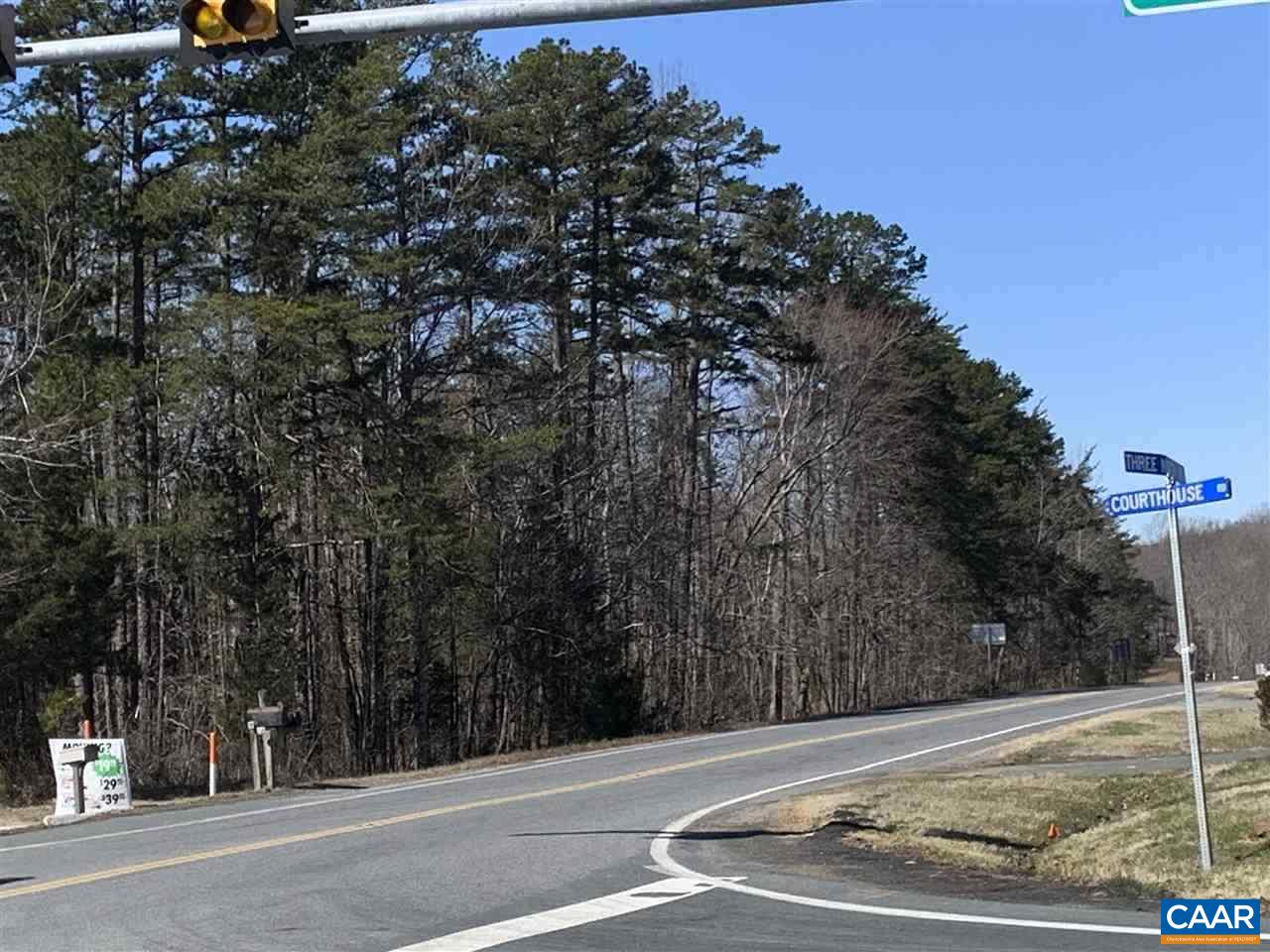 Prime commercial land in Ferncliff Growth Area with long frontage on US 250/Three Notch Road.  Great visibility from Courthouse Road (208) Three Notch Road (US 250) intersection.  Zone C2 w/ county water line and electricity on property plus access to county sewer.  Firefly High Speed Internet coming to all commercial & residential sites in Louisa County.   Great access to I-64.