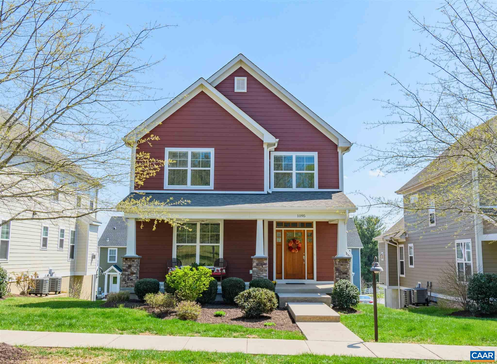 """NEW PRICE! - 1095 Killdeer Lane has craftsmanstyling withhardiplank siding. It features a very attractivesmall yard which is maintained by the HOA. This is a quiet street of only a few homes that is walkable to downtown Crozet, shops and restaurants. It is located just outside of Old Trail and only minutes to schools. The Vaulted Great Room has 5"""" rustic wood floors and opens to the modern kitchen with white shaker style cabinetry.TheMaster Suite isconveniently located on the Main floor and there are 3 additional spacious bedrooms upstairs and the bathrooms all have custom tile work.The oversized 2-car garage is accessed by the rear alley. --- Gibson Homes is known for solid 2x6 construction, foam insulation package, conditioned basement, Dual fuel 2 zone HVAC, solid core doors, superior trim package. Basement is plumbed for a bath for future expansion. First time on the market for this custom built home. You will be delighted when you tour in person. See documents in the listing for Plat, Floor-plans, Elevations and do not miss the 3D-Virtual Tour."""
