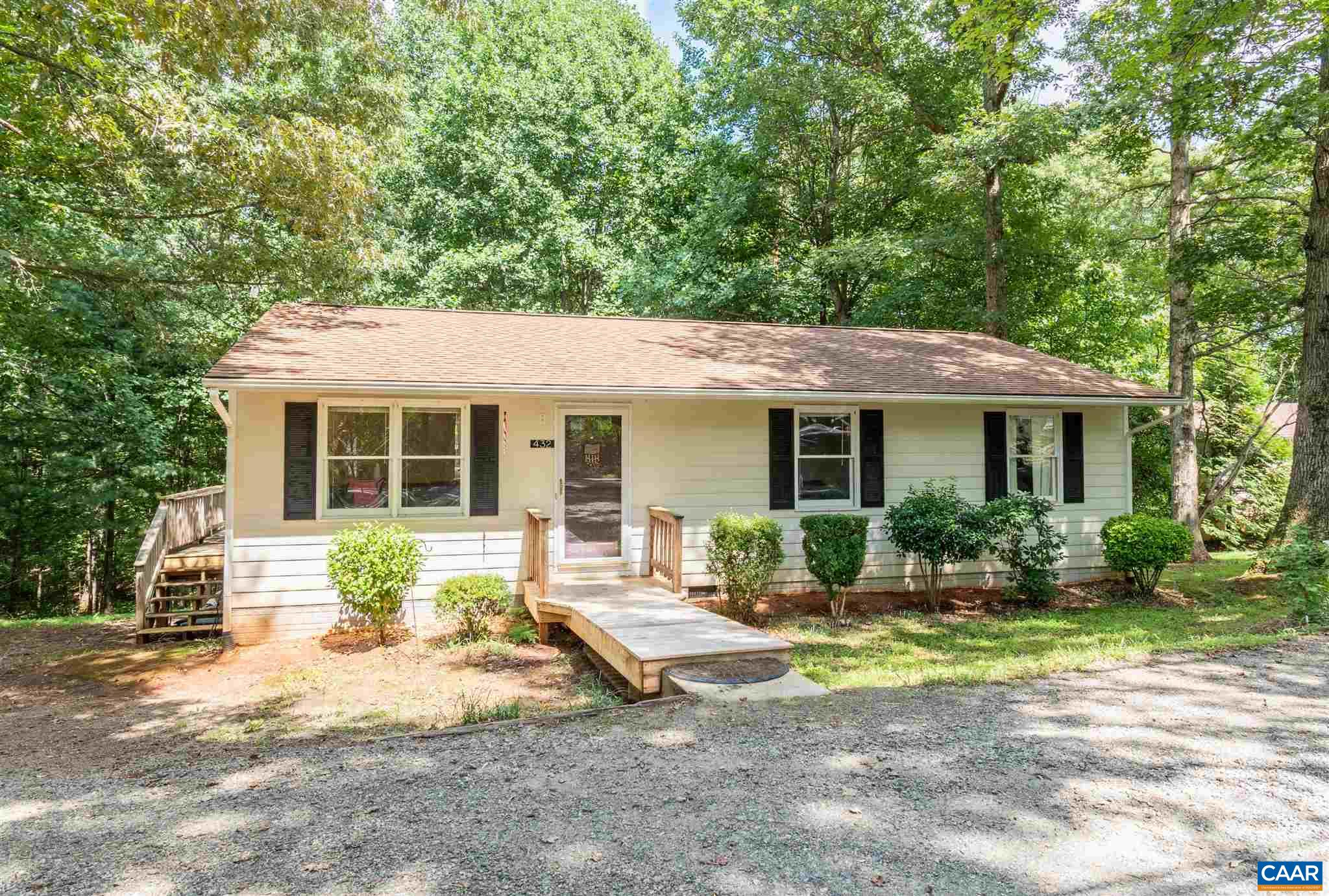 This move-in ready, one-level house sits on a nearly one-half acre lot on a quiet, tree-lined street. Built in 1991, this lovingly-cared for rancher boasts over 1,000 sq ft with 3 bedrooms, 1 1/2 bathrooms, plus an extra room that could be an office, hobby room and/or guest space. The large rear deck overlooks the private backyard bordered by trees along the rear. The deck connects with the kitchen door making it convenient for gatherings with family, neighbors and friends! New HVAC in 2019, architectural shingle roof replaced 12 yrs ago, septic clean-out four-five yrs ago. There is a small storage shed attached at the rear of the house. Convenient to Charlottesville Airport, NGIC/DIA, Madison and Culpepper, and points beyond!
