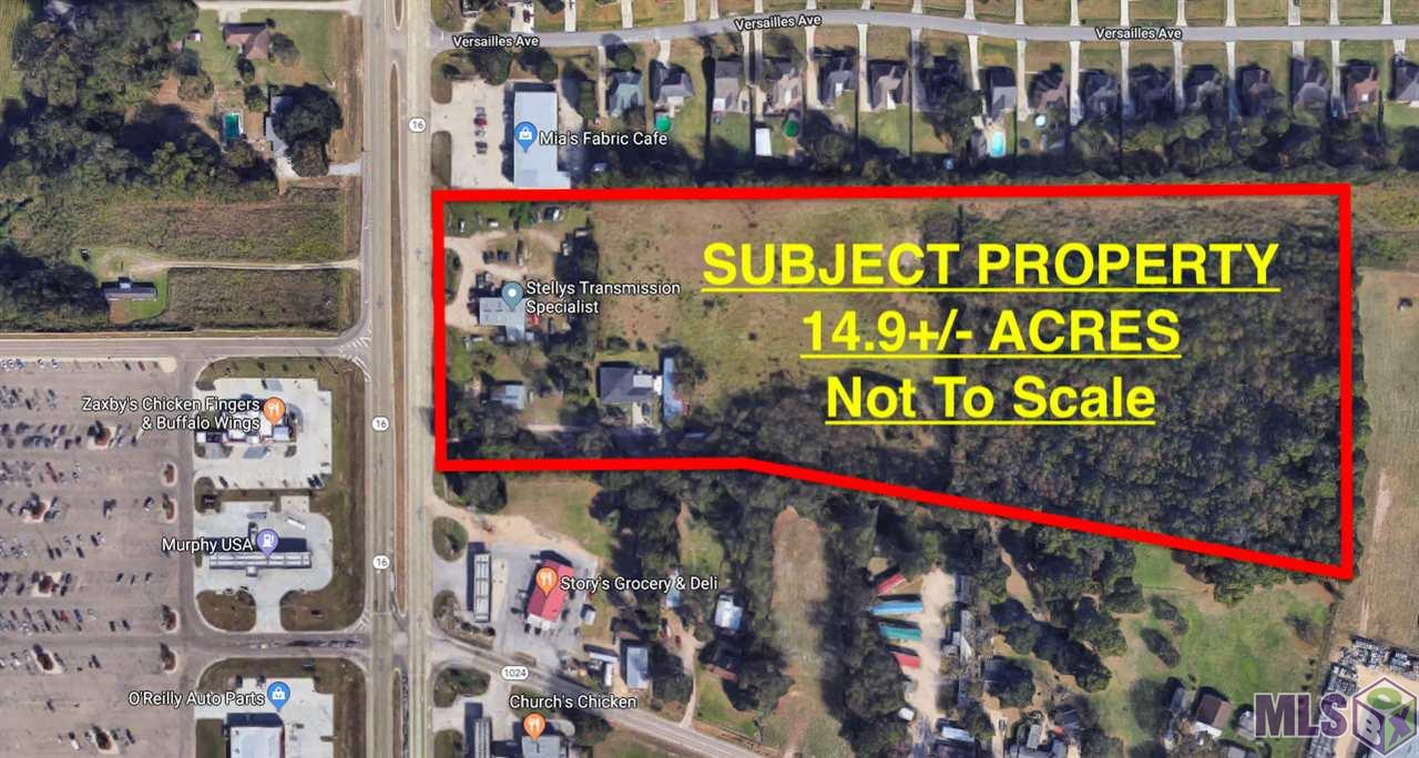 This property is composed of 0.22 acres with physical address of 34112 La Hwy 16 and 14+/- acres with physical address of 34086 La Hwy 16. Great potential for many possibilities, over 400' of frontage on La Hwy 16 in the rapidly expanding Watson community. *Lot dimensions not warranted by Realtor.