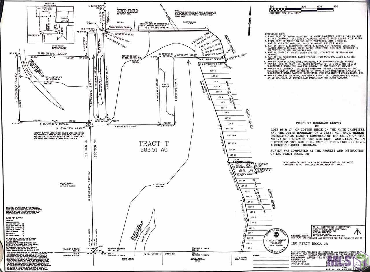 This tract of approximately 288 acres is truly a paradise! It consist of a 10.21 acre point that is at the end of Summerfield Rd with your own private bridge to access the property. This 10 acre piece is on a ridge along the river and offers over 716ft of river frontage and a dirt pad that according to the seller was high and dry during the great flood in 2016. A wetlands delineation has already been performed on 3.63 acres so it is ready for someone to build their dream home. Also making up this large tract are 5 lots in the Cotton Ridge on the Amite Campsites which provide an additional 531ft of river frontage. This amazing piece of land not only gives you exclusive river access but it also has frontage on Lake Martin! This piece is a dream come true for any outdoor enthusiast. Deer hunting, hog hunting, duck hunting, and fishing can all be experienced here on arguably Ascension Parishes most beautiful tract of land for sale. This amazing piece consist of hardwoods and many oaks throughout and even gives you exclusive access to Bayou Cocodrie. Call today to find out more info and to schedule a time to walk the property!