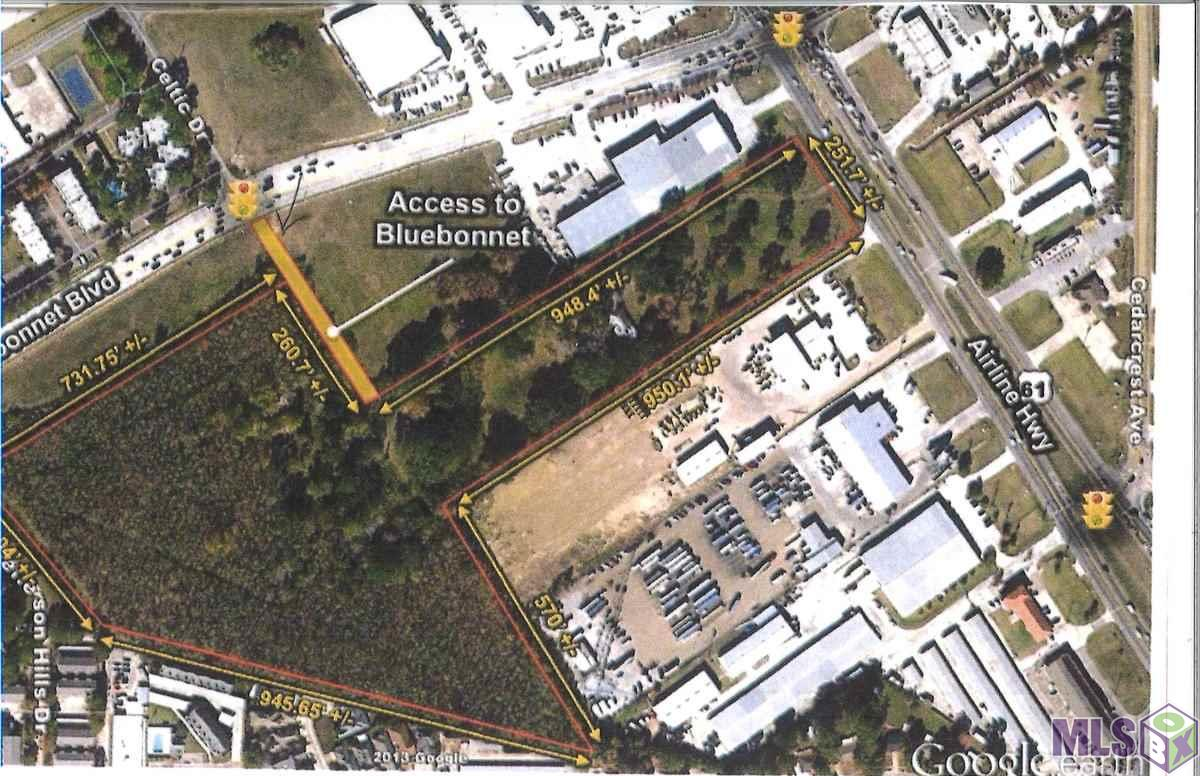 Last Property on Airline Hwy for Commercial frontage of 251 with access off Bluebonnet. Markers on property lines. Heavy Commercial.