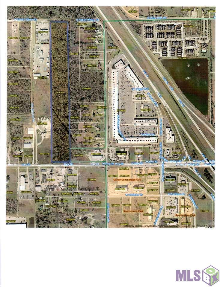This 20+ Acre Tract Fronting Hwy 30 and N Robert Wilson Road is Ideal for Several Commercial Uses.. Great Location for Office, Office Warehouse, Commercial Park..  Easy access to I-10.. Minerals Reserved by Seller..