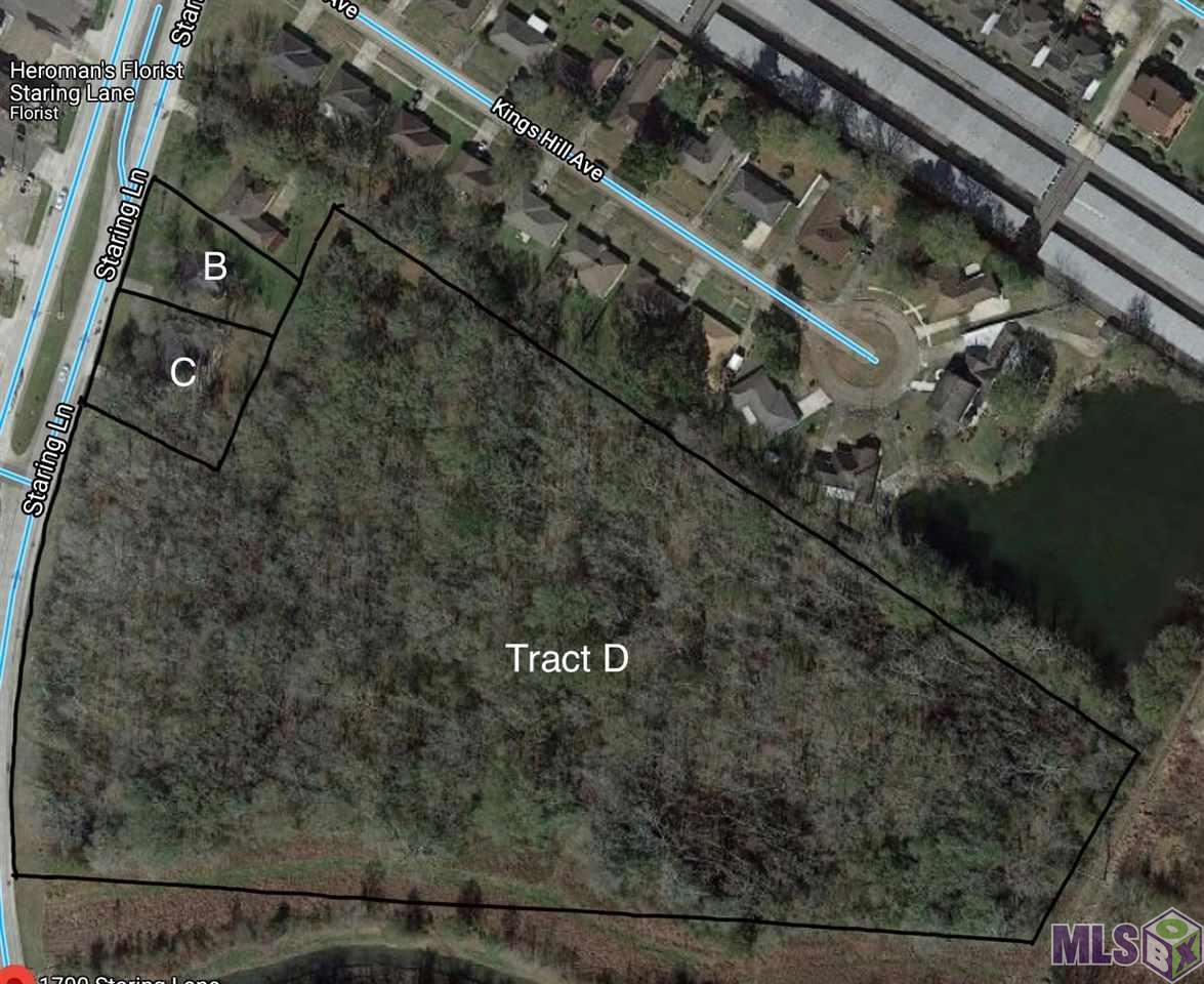 PRIME LOCATION. Approximately a mile and a half from Perkins Rowe and 2 miles from the Mall of Louisiana. The land features a total of 16 acres Zoned residential.  Lot's B & C can be purchased for addtional frontage.