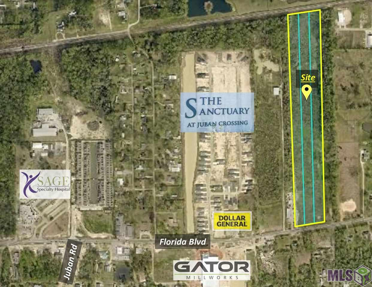 This property is composed of 17.9 acres near Juban Road in Denham Springs. 326' of frontage on Florida Blvd, It's 2313' deep for a total square footage of approx.  783,768. This property is less than half mile from Juban Road and less than 1.5 miles from Juban Crossing / I-12. Great potential for many possibilities in the rapidly expanding Denham Springs community. Flood zone AE / No Wetlands. 16.90 acres @ $3.00 sqft and frontage 1 acre @ $7.00 sqft.